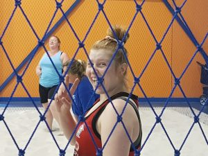 Another player having fun during a volleyball game-Bunbury Indoor Beach Volleyball-08 9726 0200