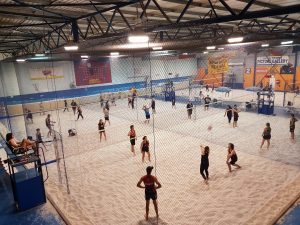 Overview of teams playing volleyball game-Bunbury Indoor Beach Volleyball-08 9726 0200